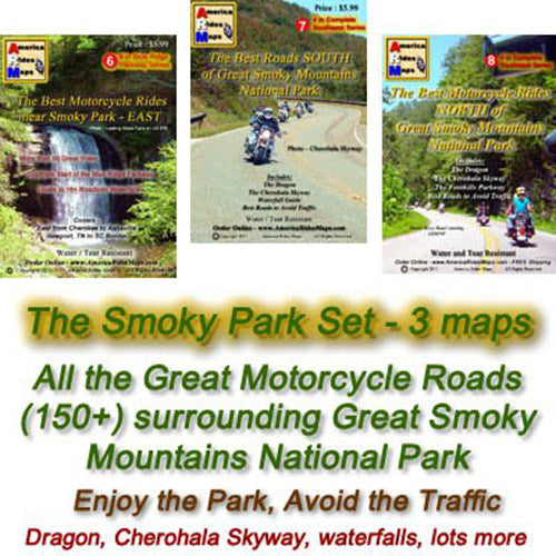 Motorcycle Ride Maps: The Great Smoky Mountains Map Series (3 Map Pack)