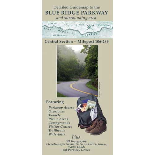 Detailed Guidemap to the Blue Ridge Parkway: Central Section