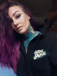 New Ausome Savage Black Zip Hoodie