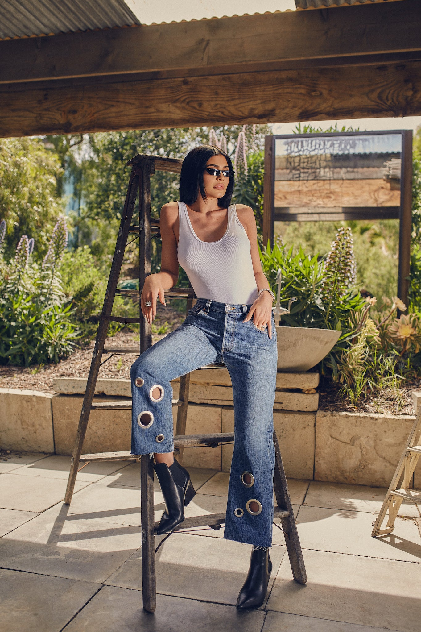 GROMMET VINTAGE JEAN BOTTOMS by KENDALL + KYLIE
