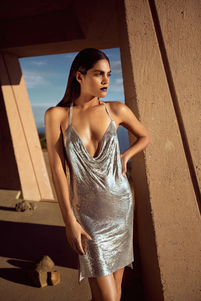 CHAINMAIL HALTER DRESS