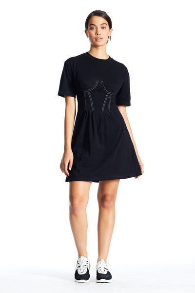 BUSTIER LACE BACK T-SHIRT DRESS DRESS by KENDALL + KYLIE