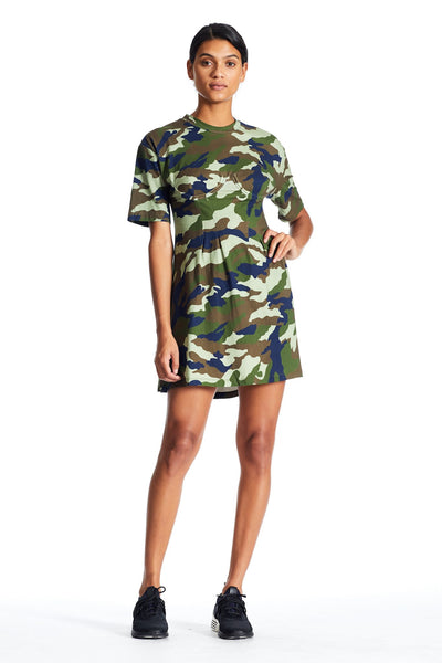 CAMO BUSTIER LACE BACK T-SHIRT DRESS