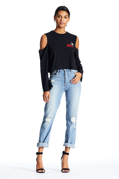 CUTAWAY LONG SLEEVE PATCH TEE TOP by KENDALL + KYLIE