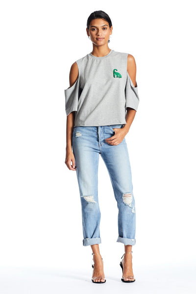 CUTAWAY SHORT SLEEVE PATCH TEE TOP by KENDALL + KYLIE