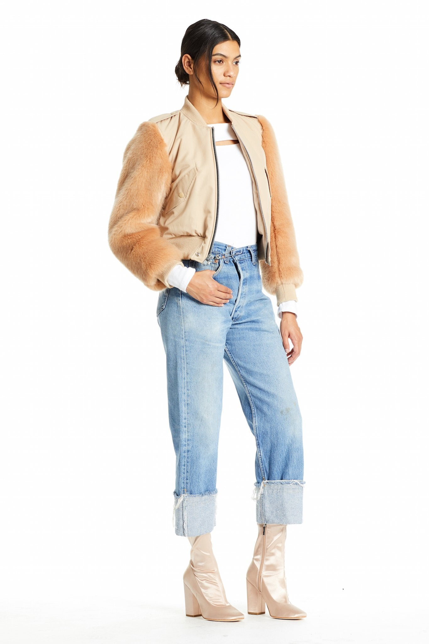 FAUX FUR BOMBER JACKET JACKETS by KENDALL + KYLIE