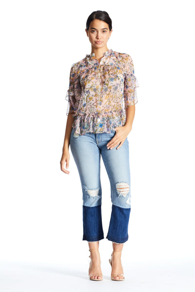 FLORAL RUFFLE BLOUSE TOPS by KENDALL + KYLIE