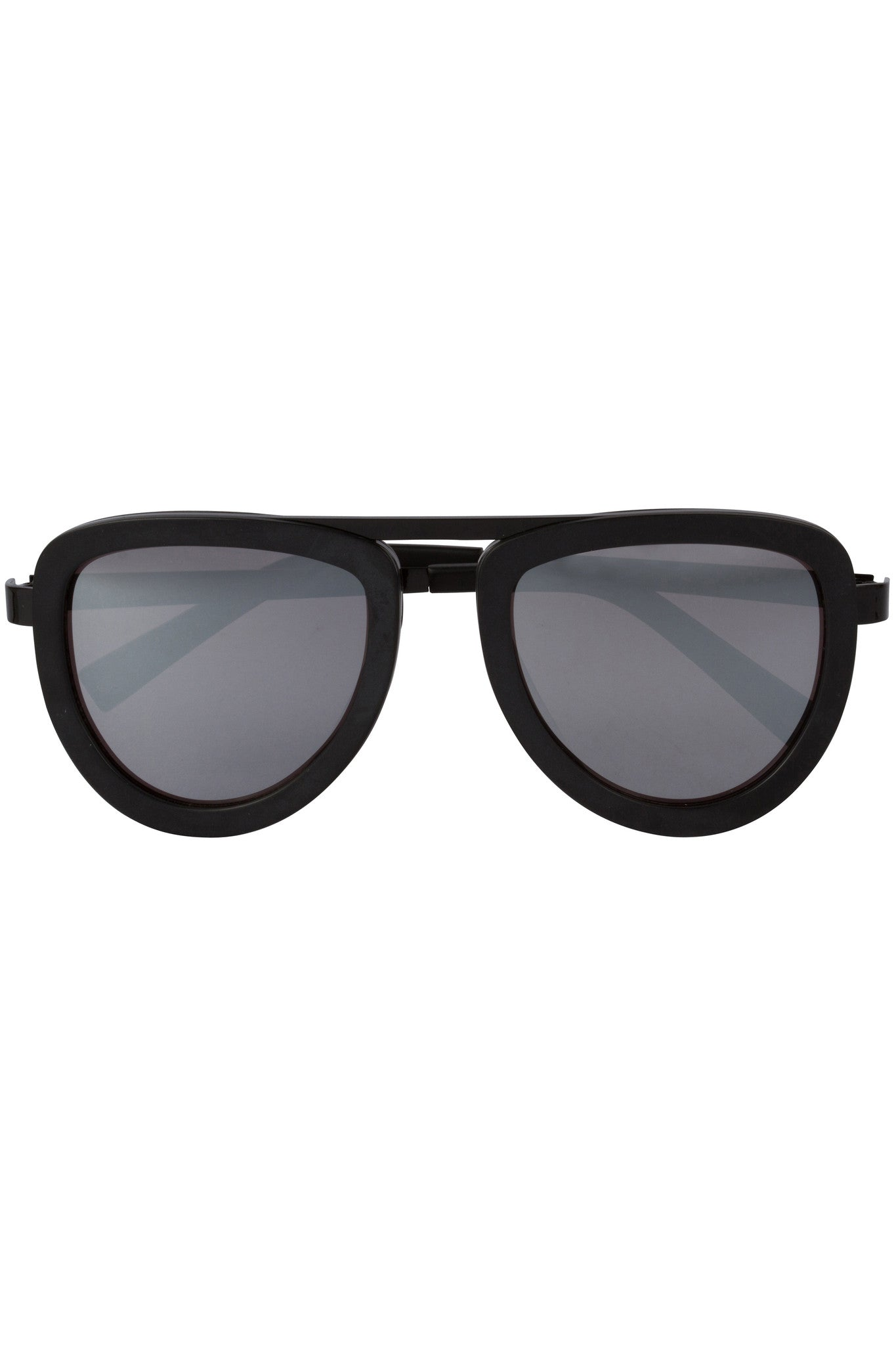 JONES BLACK ACETATE AND SILVER MIRROR SUNGLASSES