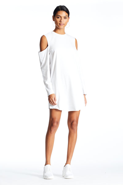 CUTAWAY LONG SLEEVE T-SHIRT DRESS