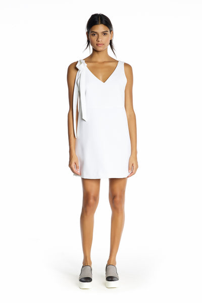 DOUBLE V-NECK DRESS WHITE