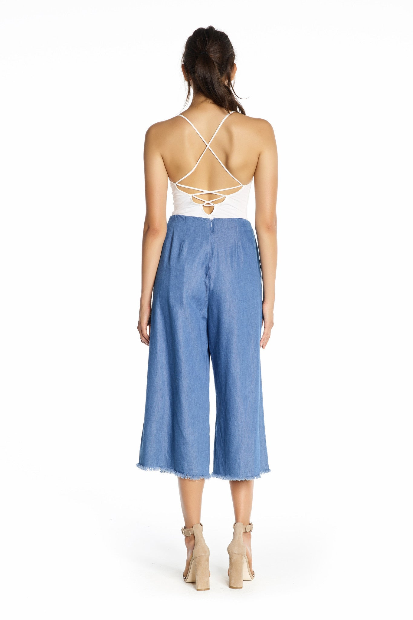 FRAYED CHAMBRAY PANTS PANTS by KENDALL + KYLIE