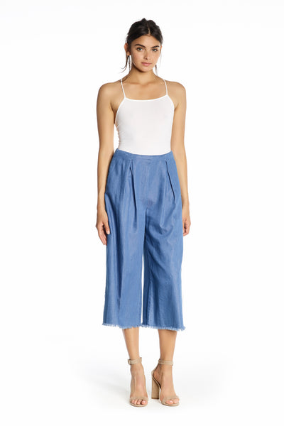 FRAYED CHAMBRAY PANTS