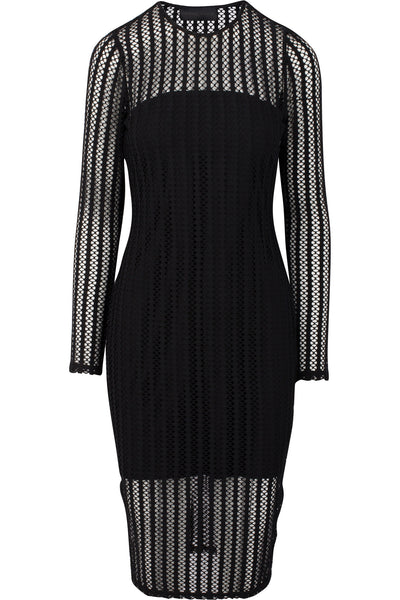 LATTICE JERSEY LONG SLEEVE DRESS