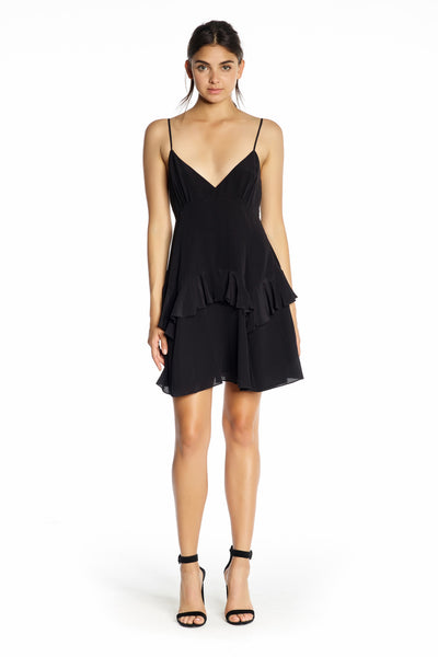 RUFFLE SLIP DRESS BLACK