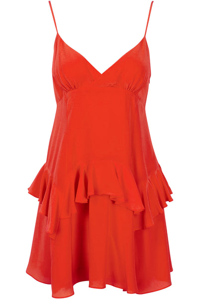 RUFFLE SLIP DRESS RED