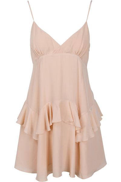RUFFLE SLIP DRESS MELLOW BUFF