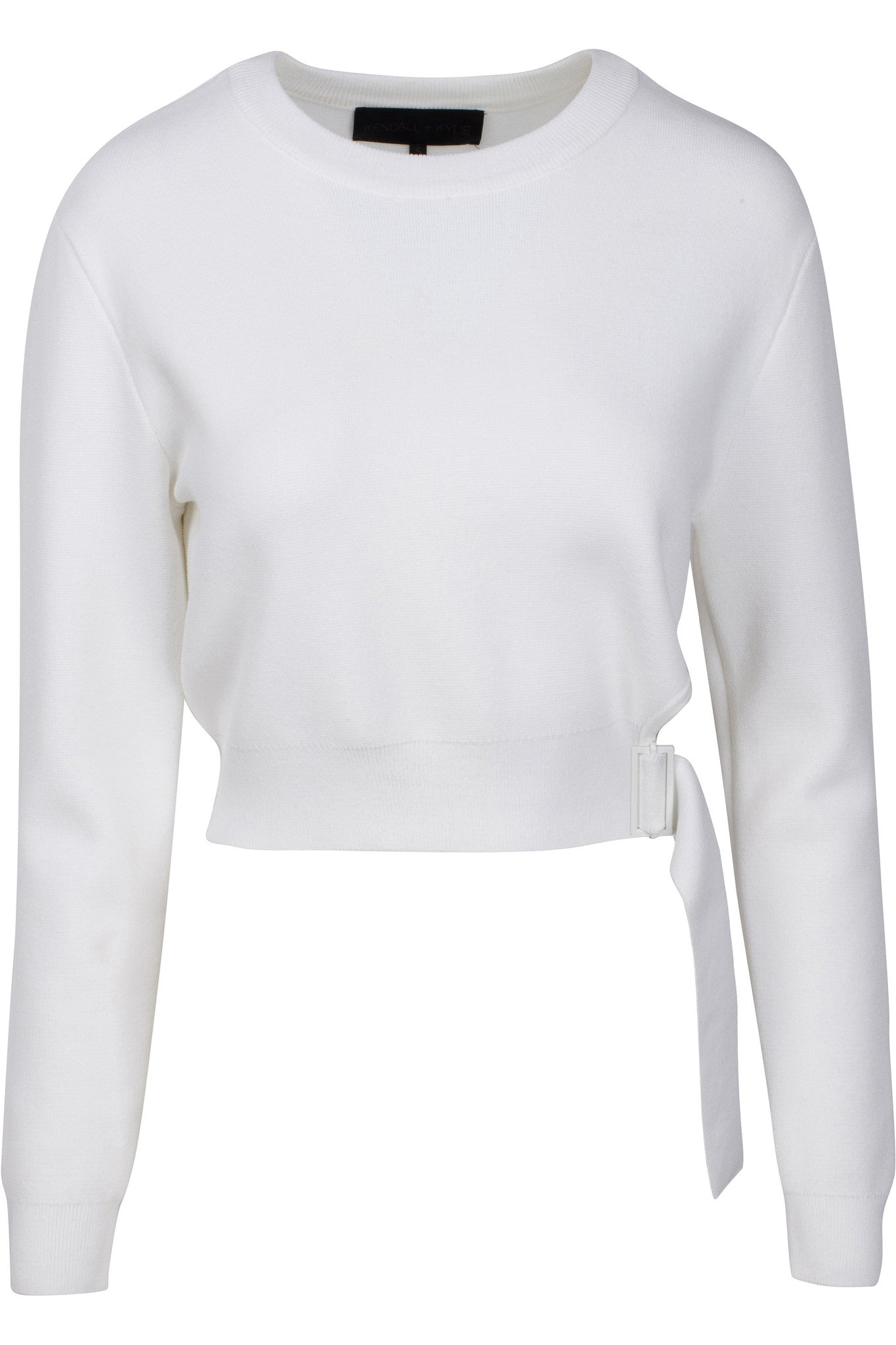SIDE BUCKLE LONG SLEEVE TOP WHITE TOPS by KENDALL + KYLIE