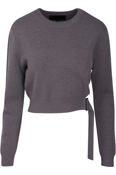 SIDE BUCKLE LONG SLEEVE TOP CHARCOAL