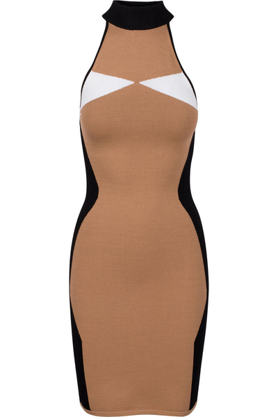 ILLUSION HALTER DRESS