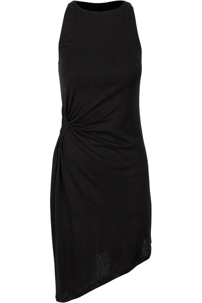 ASYMMETRIC RUCHED DRESS BLACK