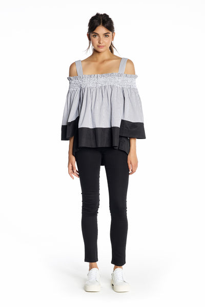 OFF-THE-SHOULDER SMOCKED TOP TOPS by KENDALL + KYLIE