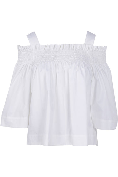 OFF-THE-SHOULDER SMOCKED TOP BRIGHT WHITE