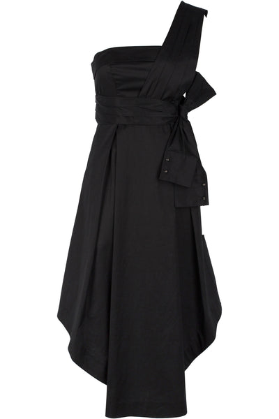 SLEEVE WRAP DRESS BLACK