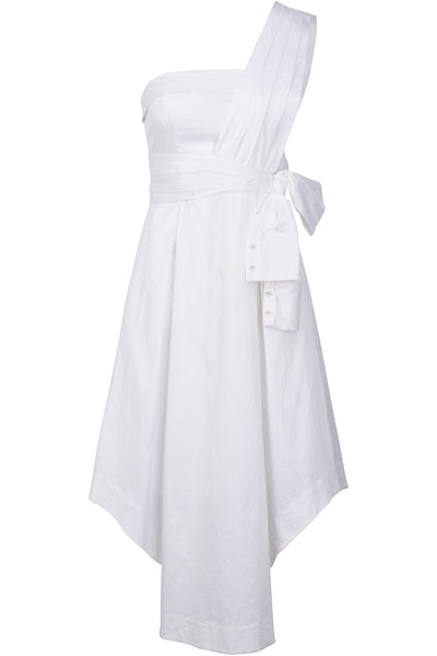 SLEEVE WRAP DRESS WHITE