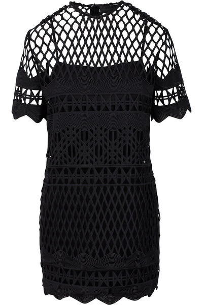 CROCHET A-LINE DRESS BLACK