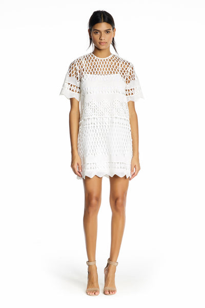 CROCHET A-LINE DRESS WHITE DRESSES by KENDALL + KYLIE