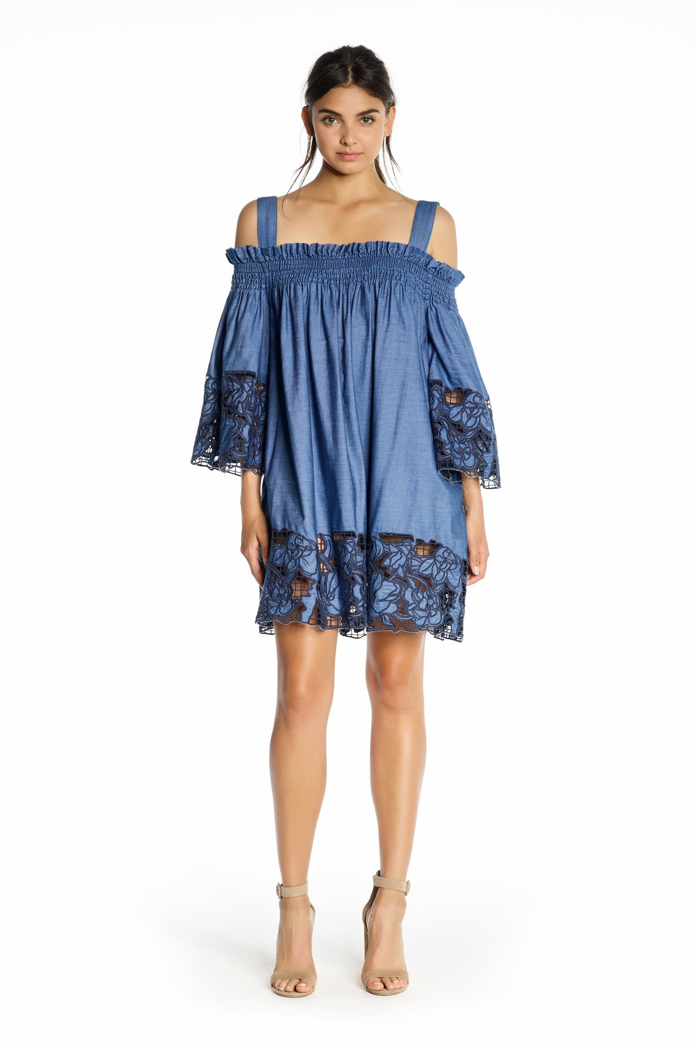 EMBROIDERED CHAMBRAY DRESS DRESSES by KENDALL + KYLIE