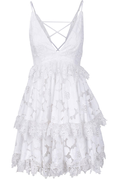 LACE BABYDOLL DRESS WHITE