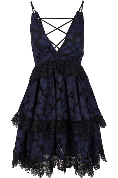 LACE BABYDOLL DRESS NAVY