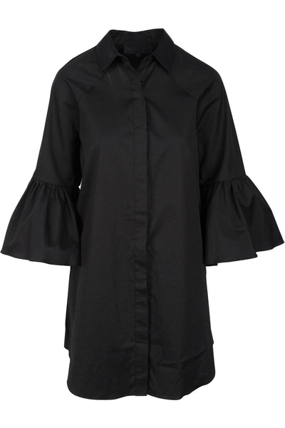 BELL SLEEVE SHIRT DRESS BLACK