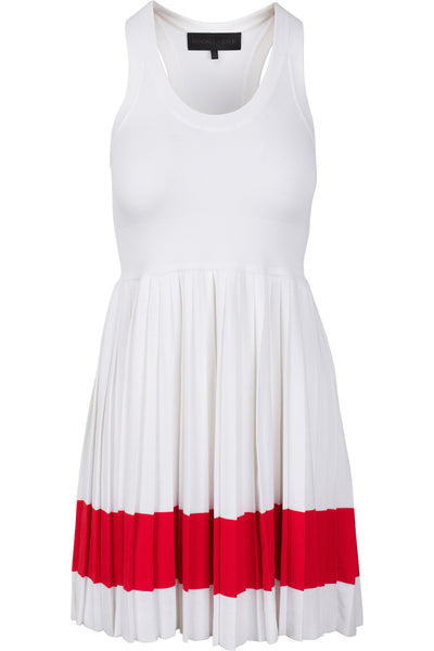 RACER BACK PLEATED DRESS WHITE RED