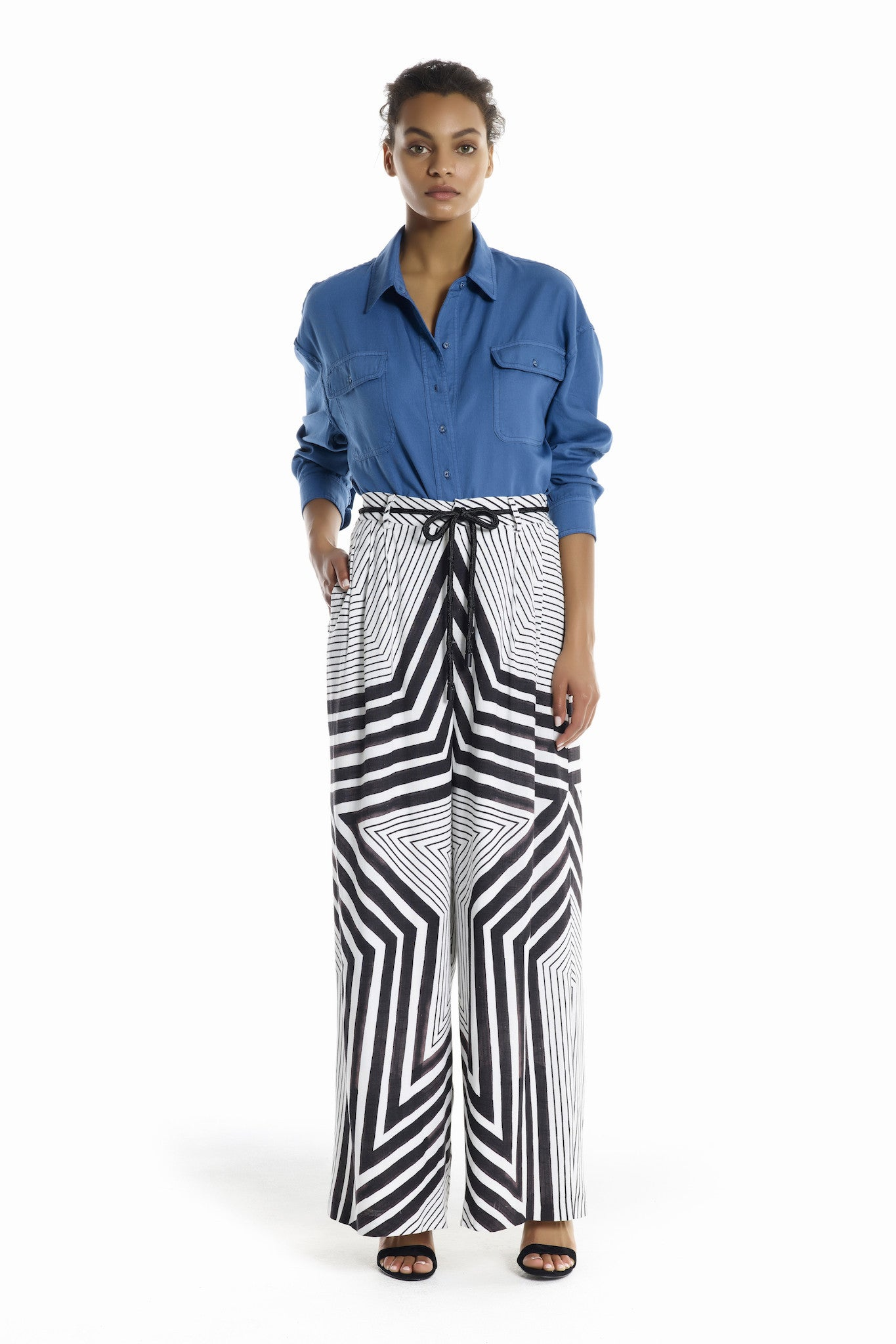 STAR PRINT WIDE LEG PANTS BOTTOMS by KENDALL + KYLIE