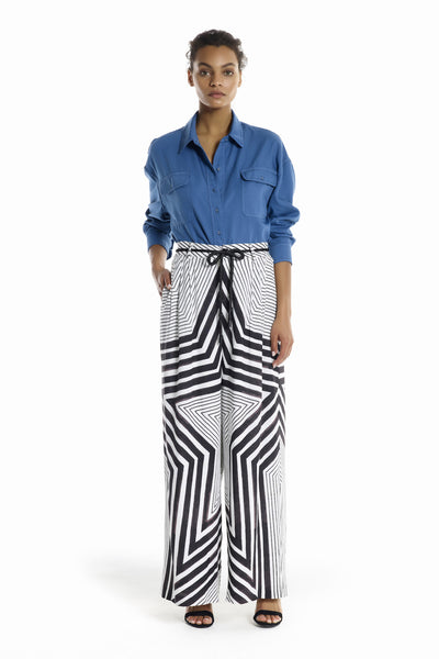 STAR PRINT WIDE LEG PANTS