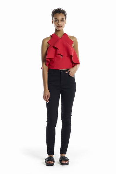 OVERLAP RUFFLE CROP TOP TOPS by KENDALL + KYLIE