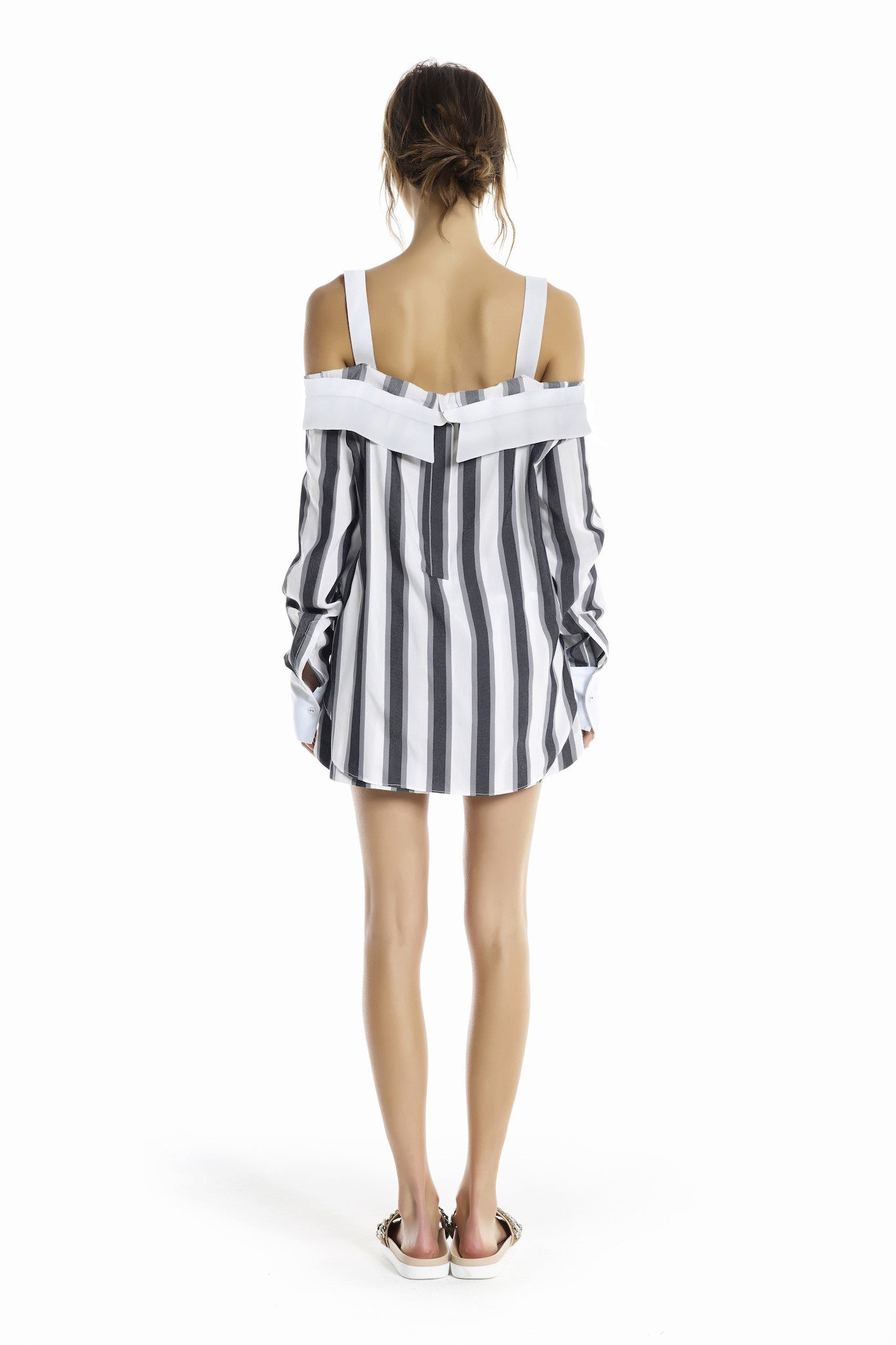 STRIPE OFF SHOULDER SHIRT TOPS by KENDALL + KYLIE