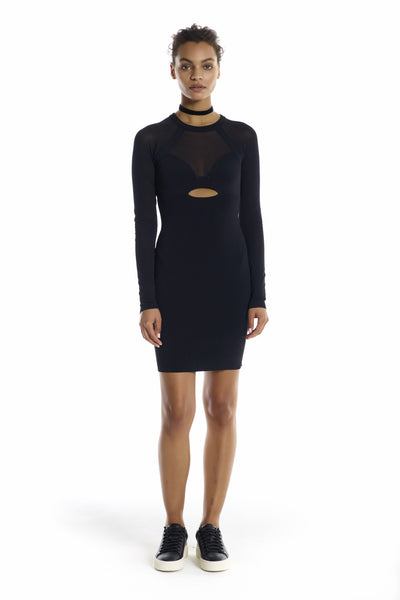 SHEER YOKE LONG SLEEVE DRESS