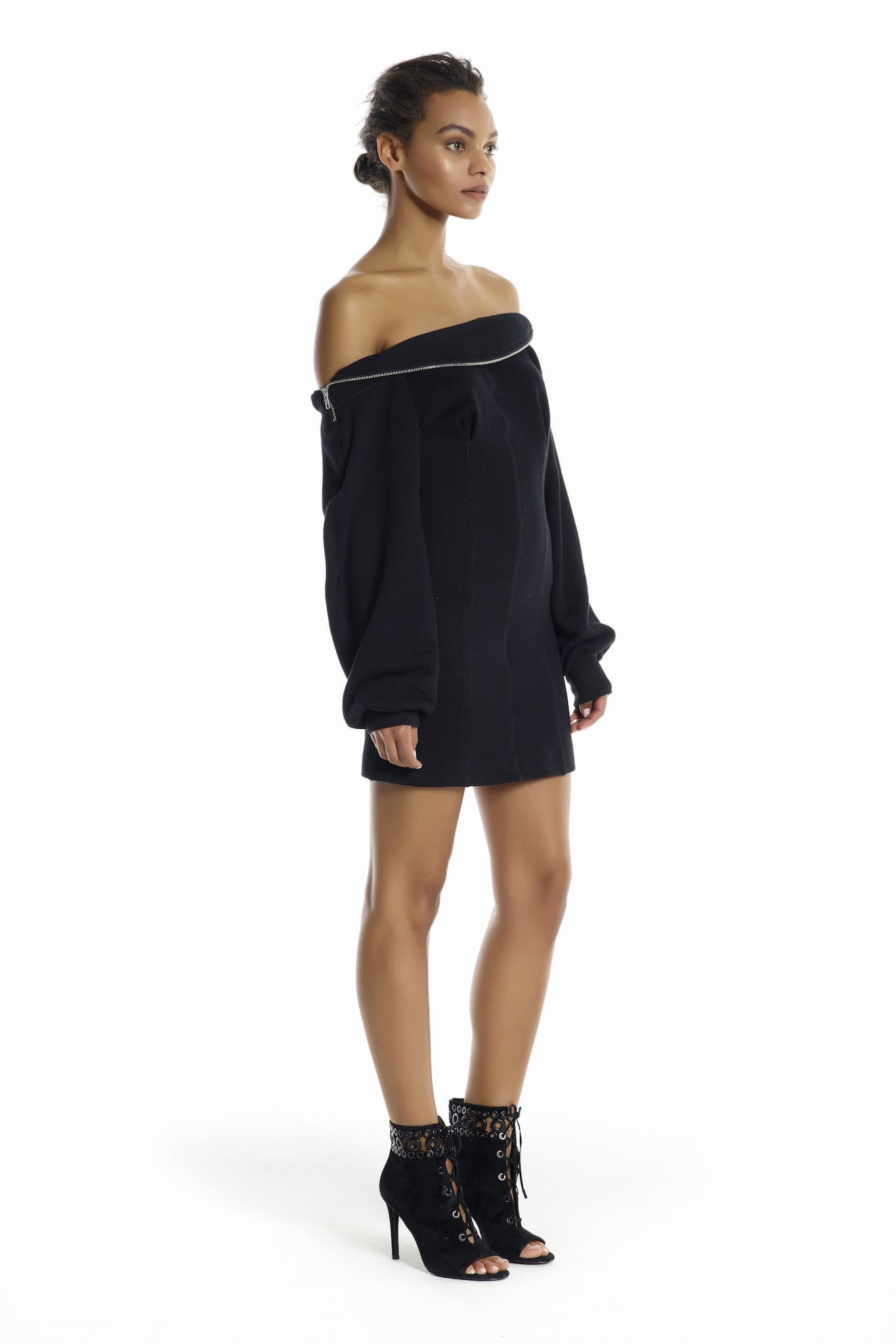 OFF-SHOULDER SWEATERSHIRT DRESS DRESSES by KENDALL + KYLIE