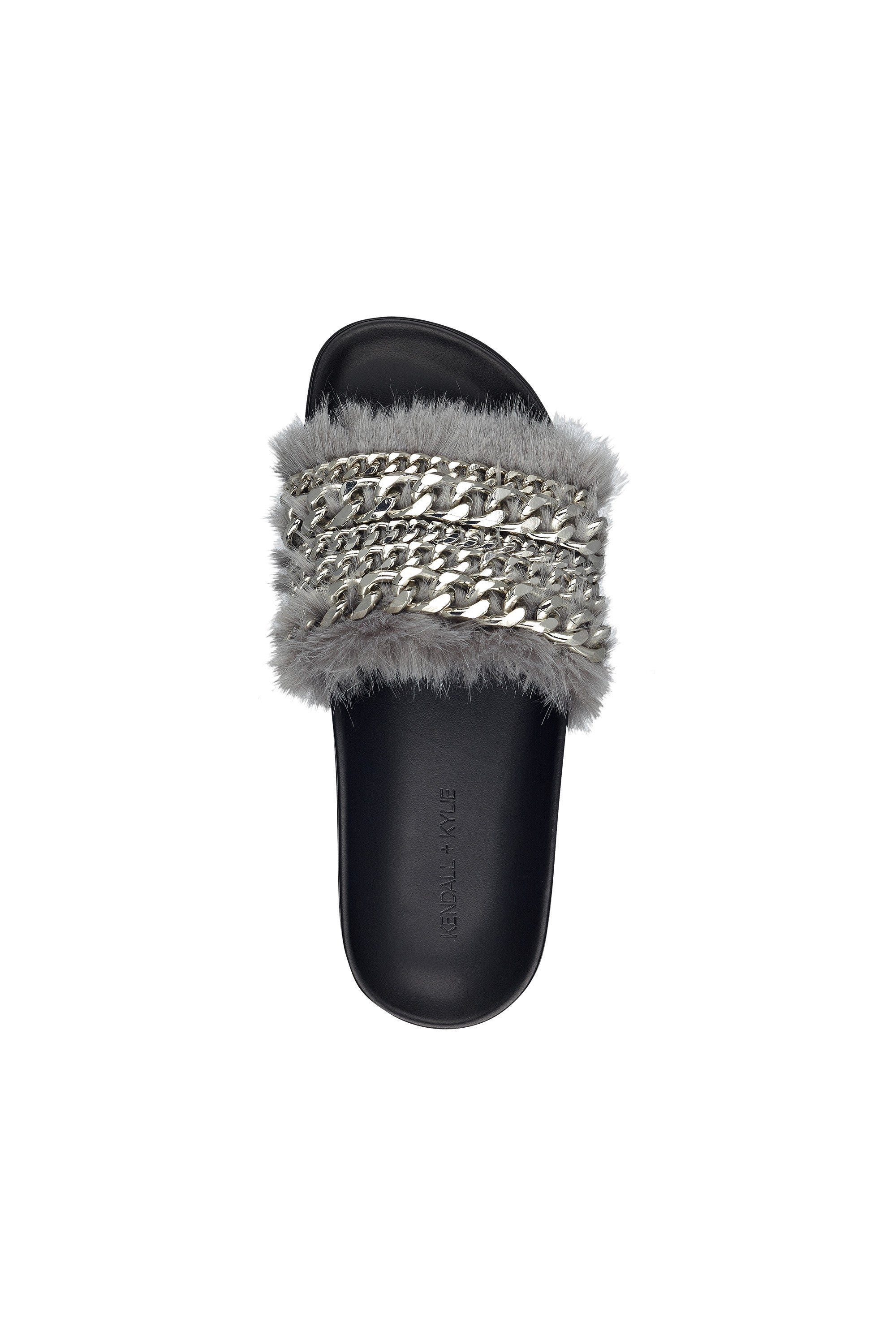 SAMMY CHAIN AND FAUX FUR SLIDE SHOES by KENDALL + KYLIE