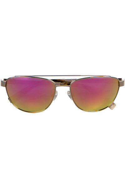 LEXI SILVER METAL AND PINK MIRROR SUNGLASSES