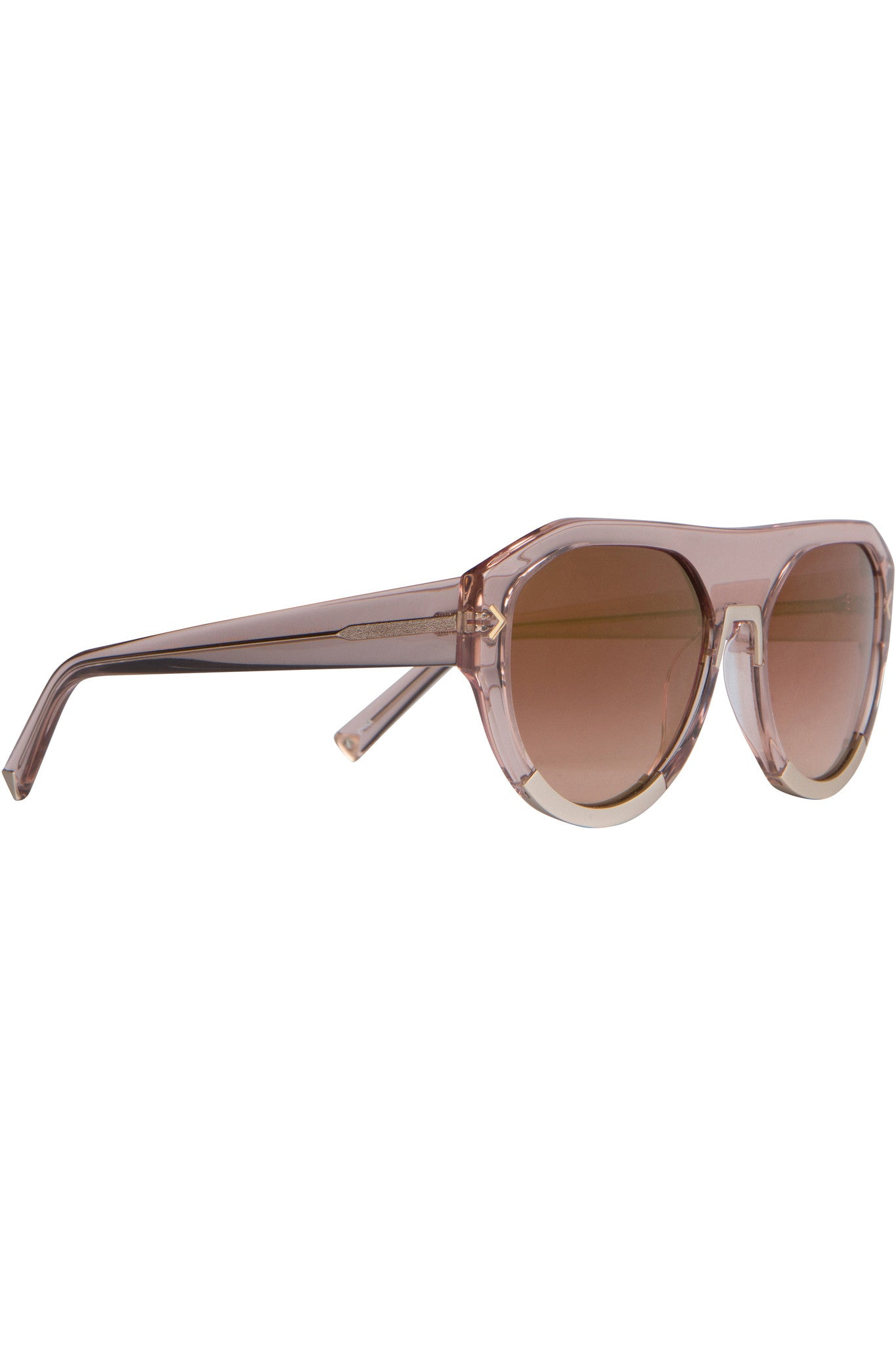 MERCY BLUSH CRYSTAL AND MATTE SATIN GOLD METAL SUNGLASSES