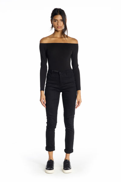 OFF-SHOULDER LONG SLEEVE BODYSUIT BLACK TOPS by KENDALL + KYLIE