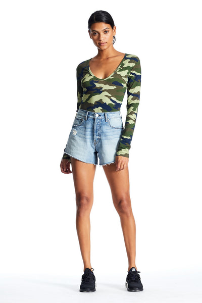 LONG SLEEVE CAMO BODYSUIT BODYSUIT by KENDALL + KYLIE
