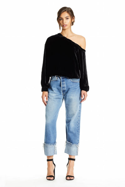 SILK VELVET OFF SHOULDER TOP TOPS by KENDALL + KYLIE