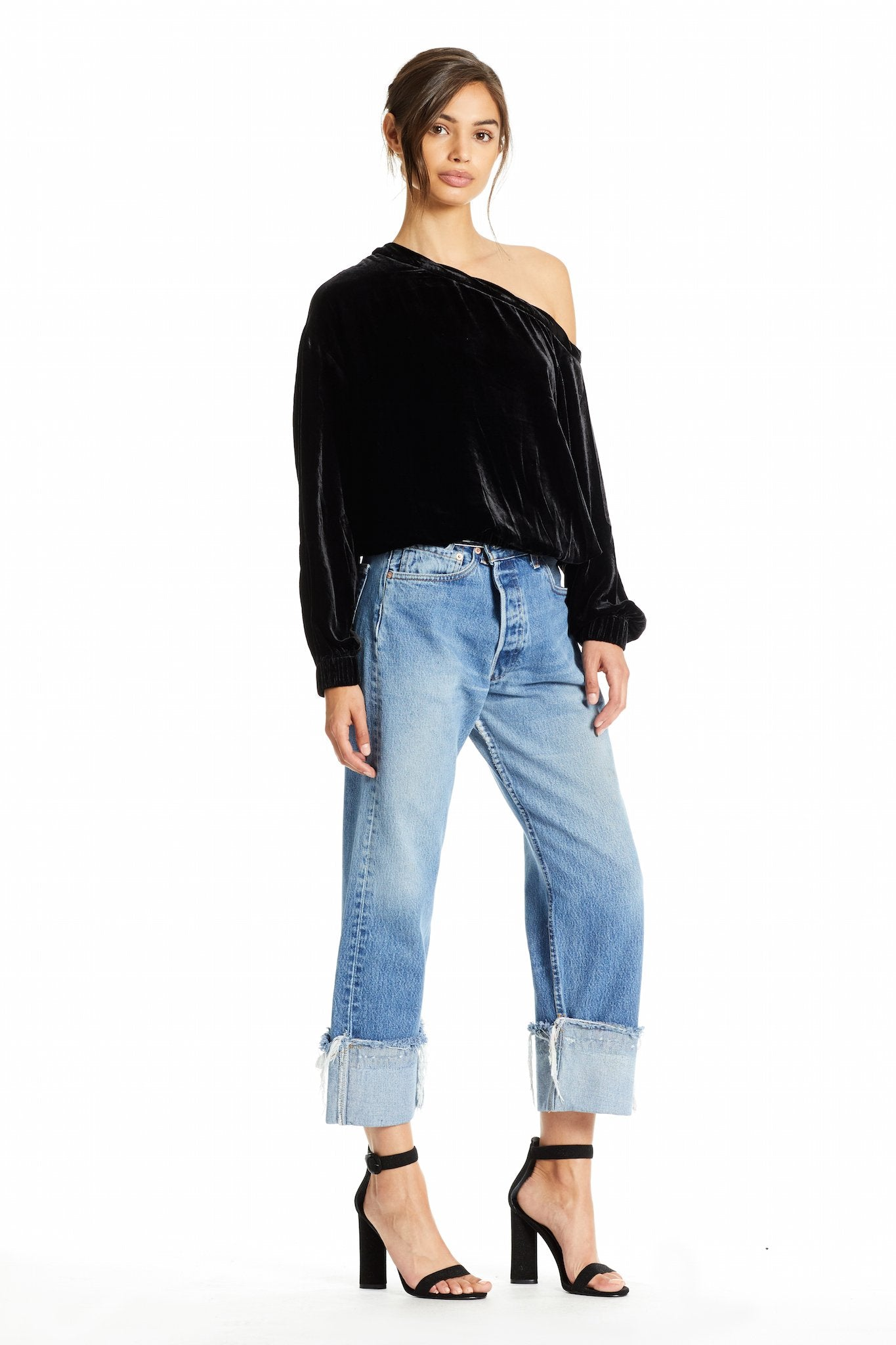 SILK VELVET OFF SHOULDER TOP