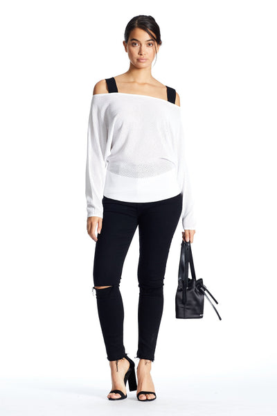 OFF SHOULDER STRAP PULLOVER