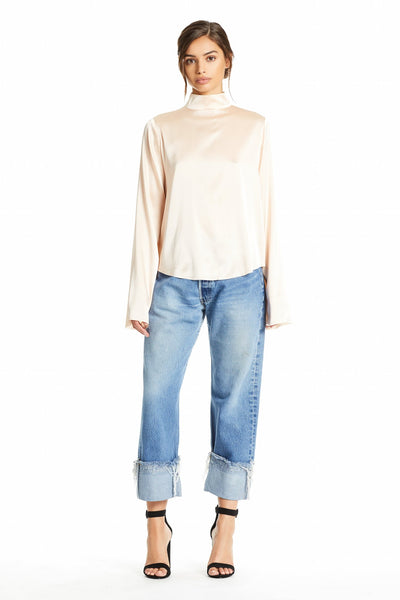 OVERSIZED MOCK NECK TOP